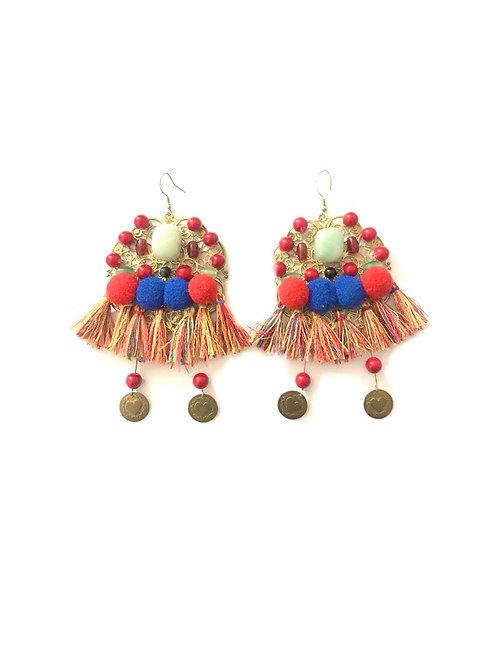Boucles d'oreilles pendantes en céramique et fil Colorful