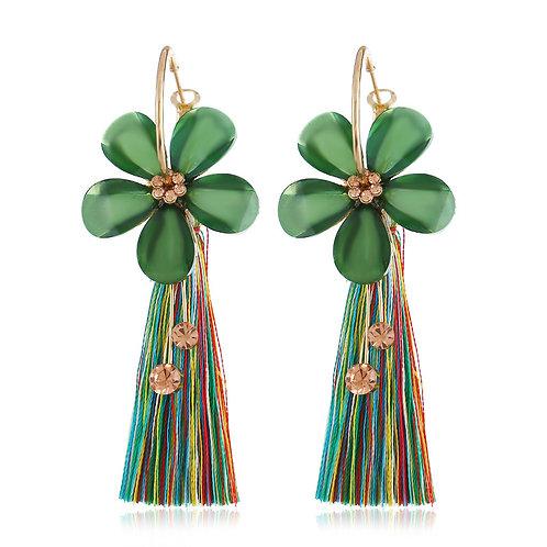 Boucles d'oreilles pendantes strass Swarovski éléments et fil vert plaqué Or