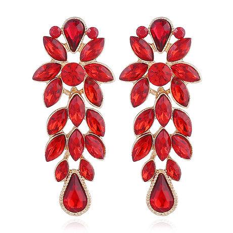 Boucles d'oreilles rouge strass cristal Autrichiens en plaqué Or rose