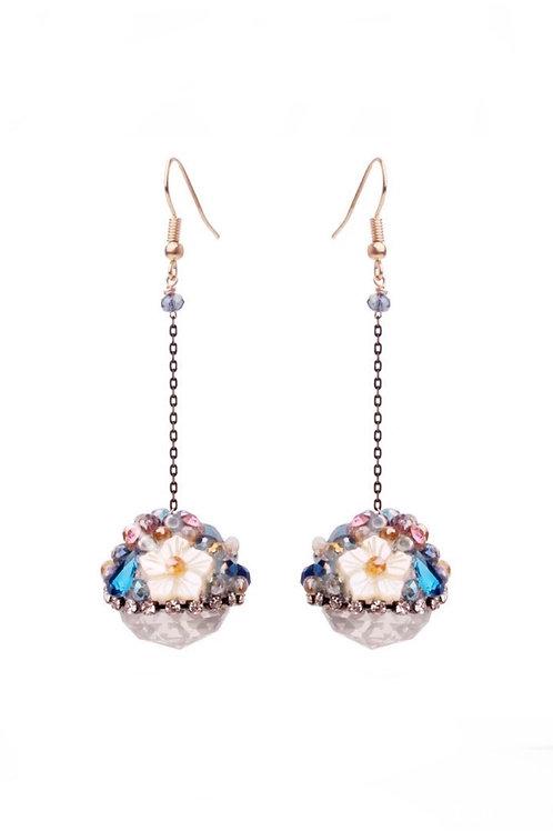 Boucles d'oreilles pendantes Strass Swarovski plaqué Or rose