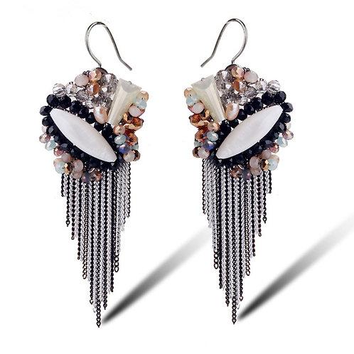 Boucles d'oreilles pendantes strass en céramique acétate et cristaux autrichiens