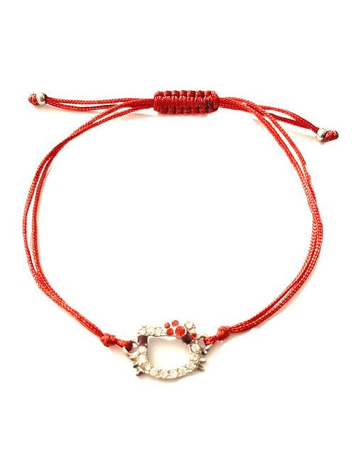 Bracelet porte-bonheur rouge strass Kitty contre Mauvais œil en argent et fil