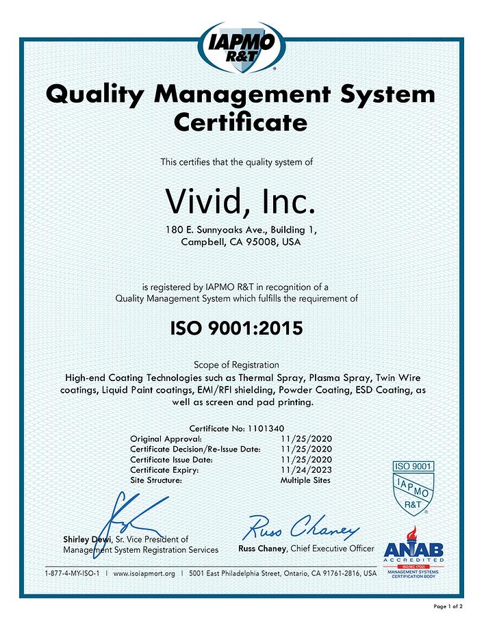 Vivid, Inc. ISO 9001.2015 Certificate 20