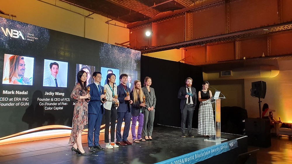 Skylar accepting the Outstanding young leader award at the World Blockchain Awards 2019