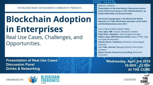 Demetrius Consulting invited by Blockchain for Business Madrid to April 3 Panel with IBM, Liberbank