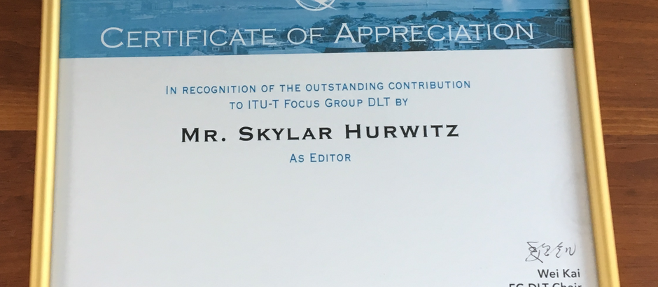 Skylar Hurwitz receives award from the UN's ITU for reports on distributed ledger technology (DLT)