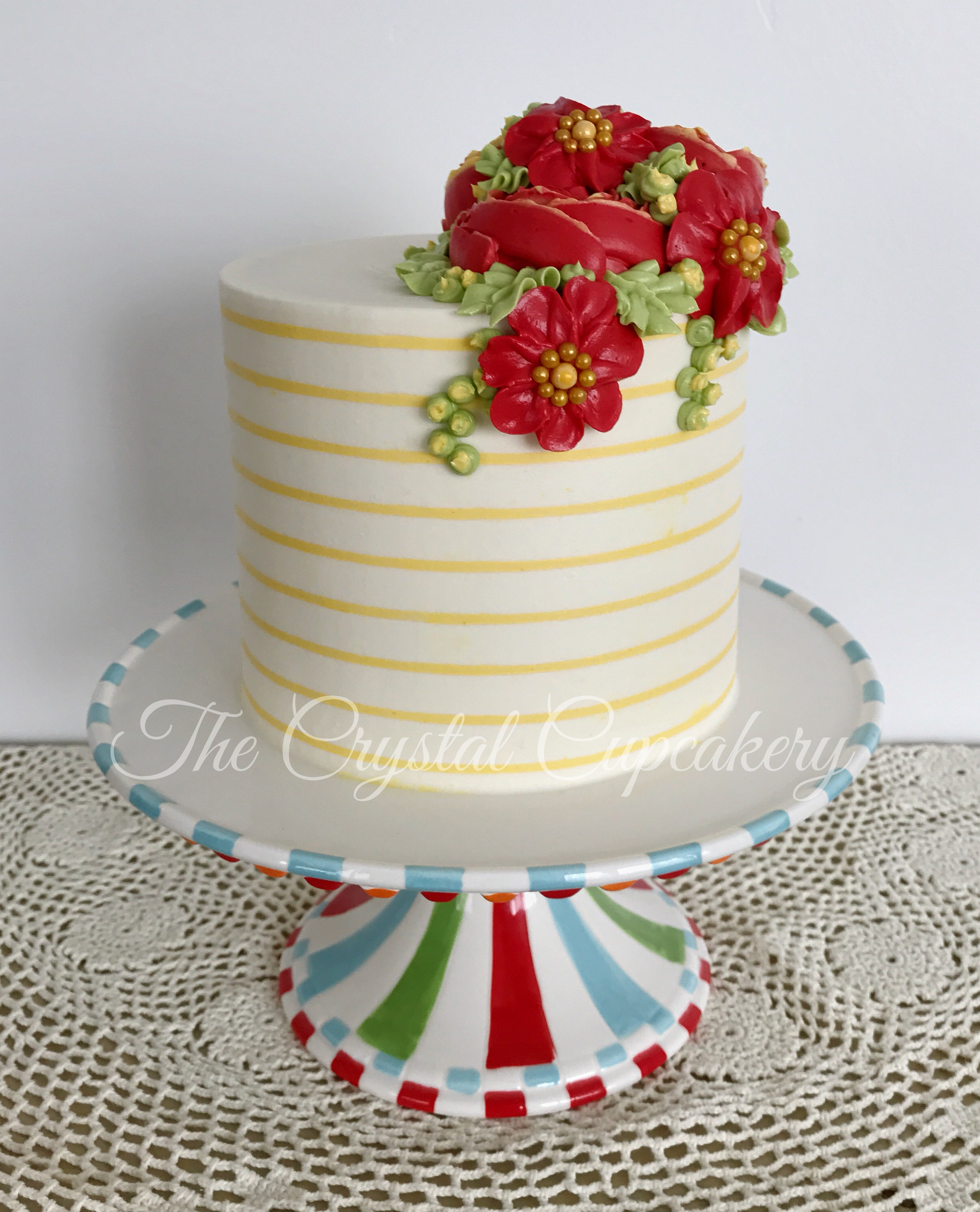 Buttercream stripes and flowers