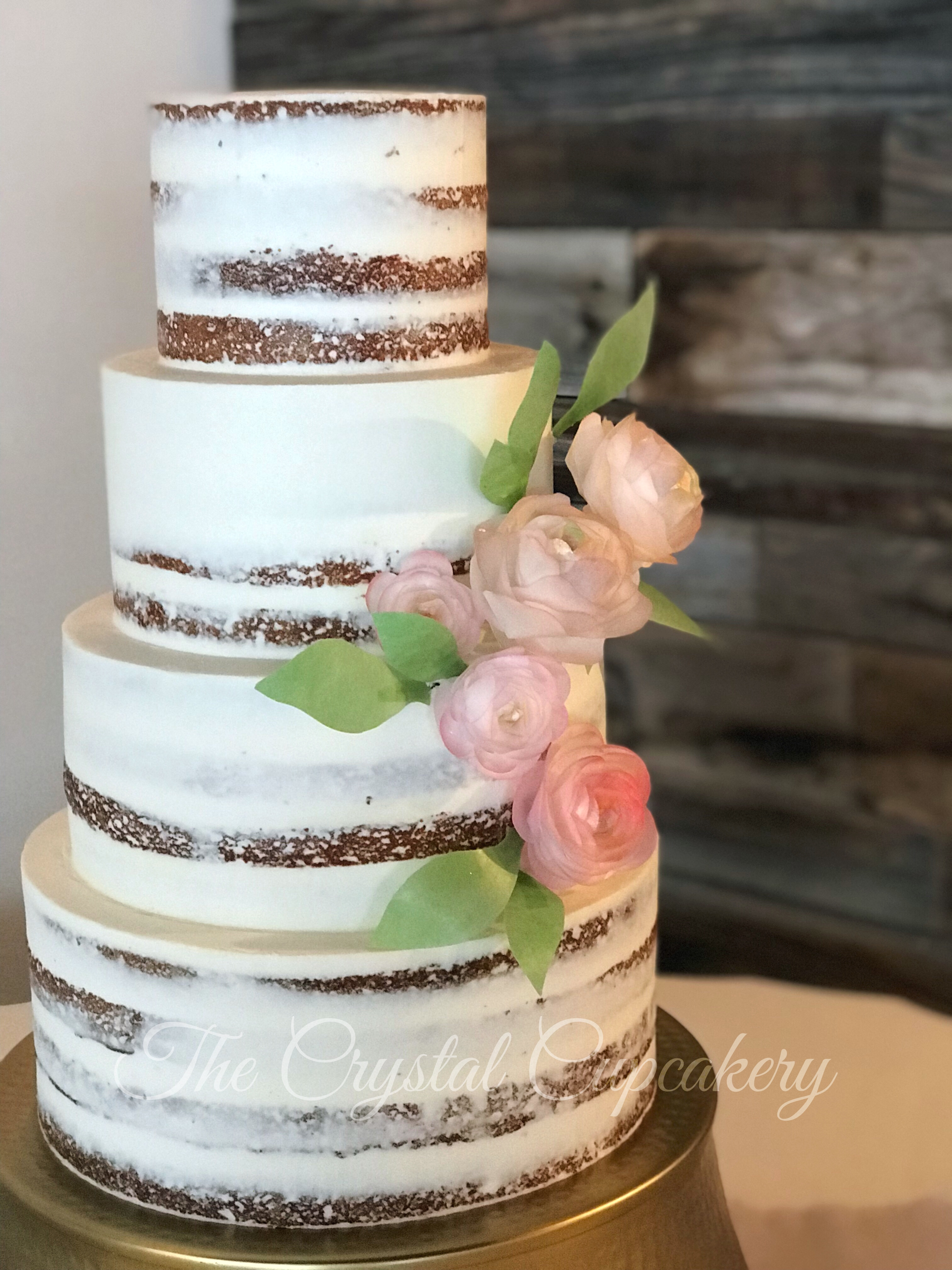 Naked Cake with Wafer Paper Flowers