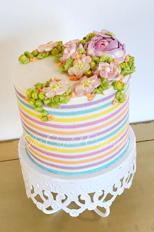 Buttercream Striped Birthday Cake