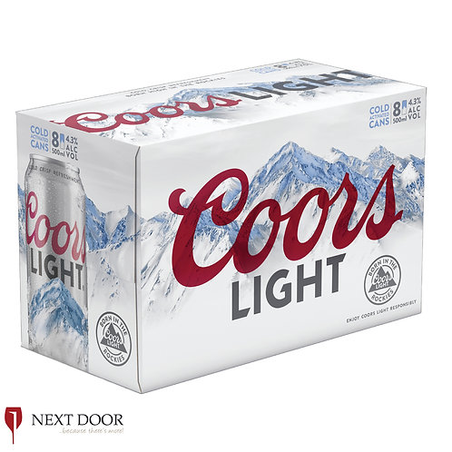 Coors Light 8 X 500ml Can Pack