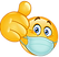 thumb-up-emoticon-with-medical-mask-vect