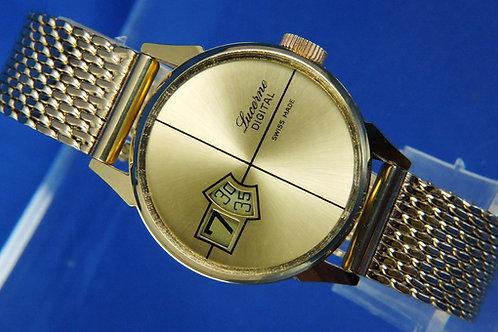 Lucerne Mechanical Jump Hour Digital Watch . Circa 1970s ,  Switzerland