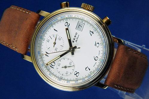 Zeno Hand Wound Chronograph Watch . Cal Valjoux 7765 / 7750 . NOS - circa 1980S