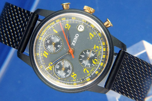 Zeno Hand Wound Chronograph Watch . Cal Valjoux 7760 , NOS . Circa 1980S NEW