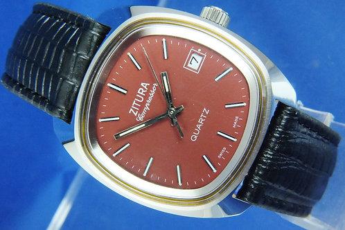 Zitura Compressor Quartz Watch . Circa 1970s . Swiss Cal ESA 536 121 . Unworn