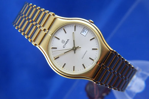 Cyma Automatic Swiss Dress Watch . Circa 1980s . NOS New Condition