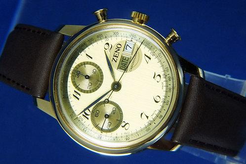 Zeno Hand Wound Chronograph Watch . Cal Valjoux 7765 / 7750 . NOS - circa 1970s