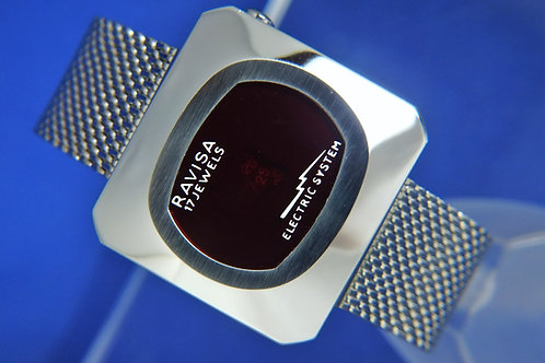 Ravisa Electric System Jump Hour Wind Up Watch . 1970s Swiss LED Style