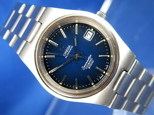 Omega Seamaster Cosmic 2000 Automatic Watch . Blue Dial , Circa 1970s