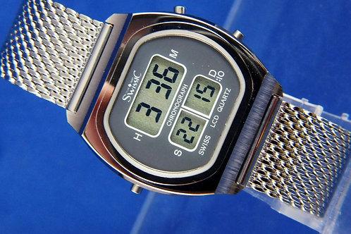 Swissic Chronolympic Quartz LCD Digital Watch . Circa 1970s . ESA 934711 . NOS
