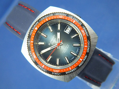 R Jaquet Geneve Automatic Watch World Time/Diver.1970S -NOS . 25 jewel AS 2063