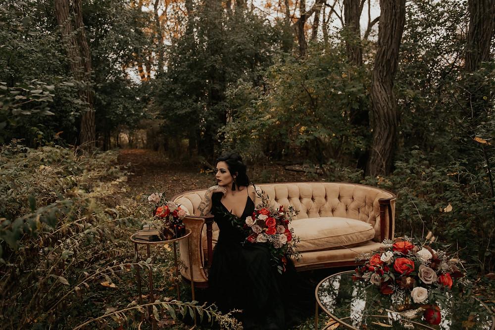 Outdoor wedding lounge inspiration: Dark & Romantic Wedding Inspiration featured on Pretty Little Vintage Co.