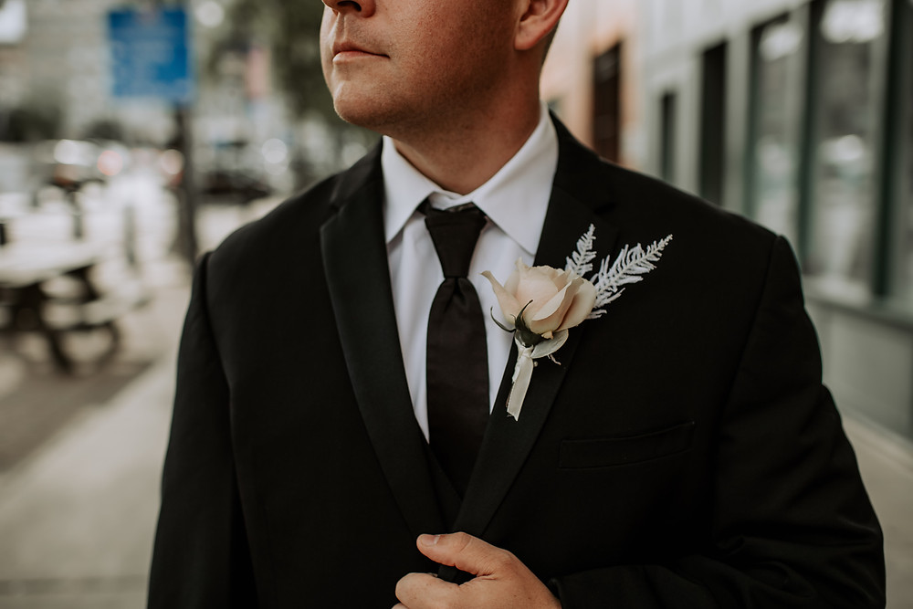 Ivory wedding boutonniere