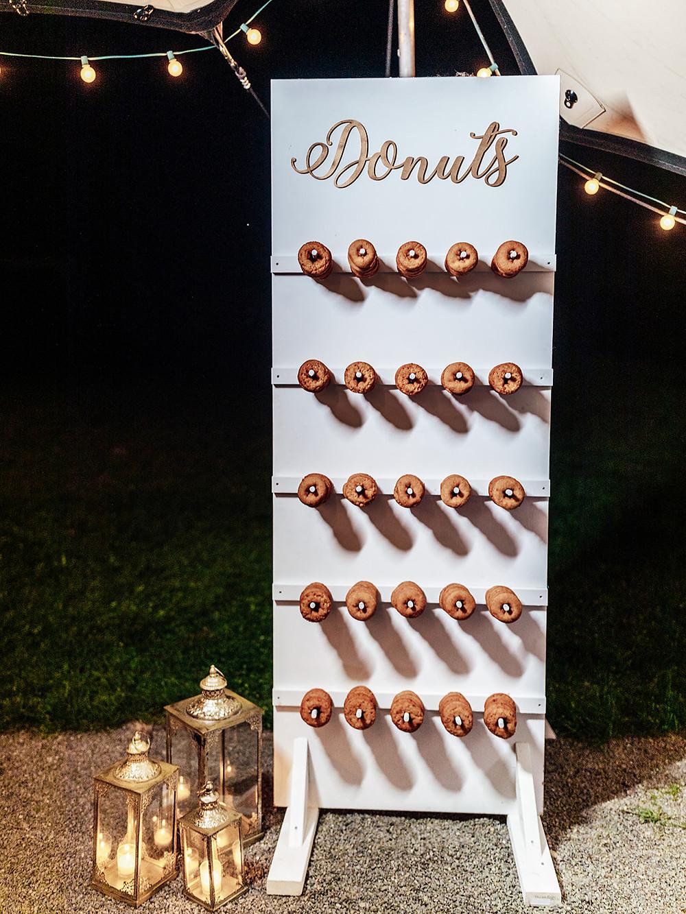 Wedding donut display: Vintage Glam Barn Wedding at The Treman Center