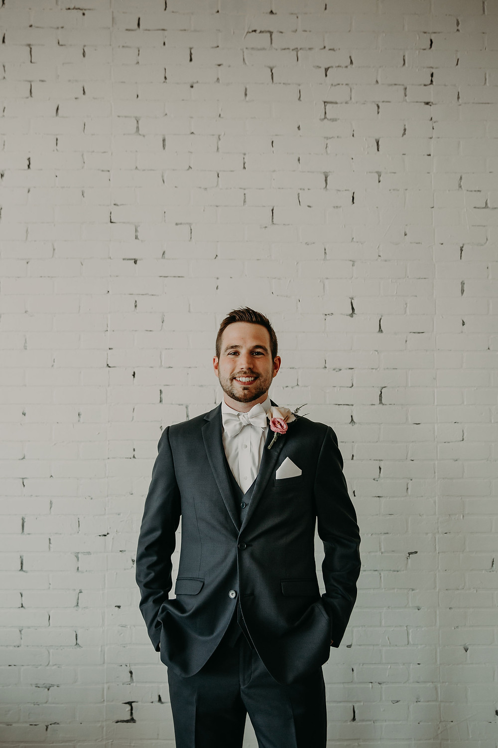 Grooms portrait by Kortni Maria: Summer Small Wedding at The Lincoln Loft