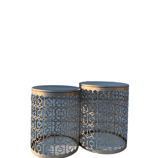 Metal Top Patterned End Tables