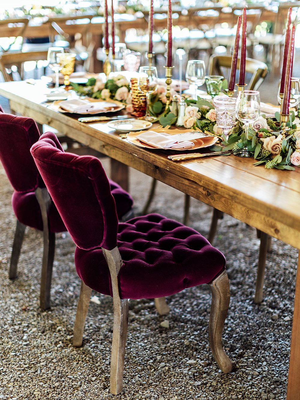 Red signature sweetheart table chairs: Vintage Glam Barn Wedding at The Treman Center