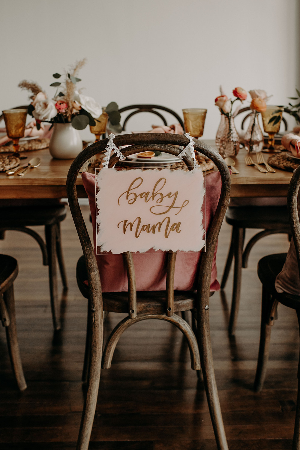 Gold and pink hand-lettered baby shower chair sign: Citrus Colored Baby Shower Inspiration with Pretty Little Vintage Co.