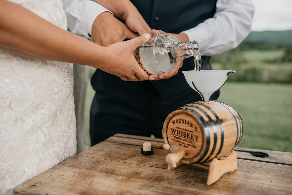 Wine wedding ceremony: Vintage Glam Gilbertsville Farmhouse Wedding featured on Pretty Little Vintage Co.