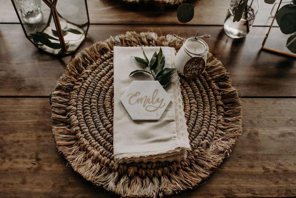 Hexagon marble geometric wedding escort cards: Earthy & Modern Bridal Shower Inspiration by Pretty Little Vintage Co. featured on The Lincoln Loft & Studio blog