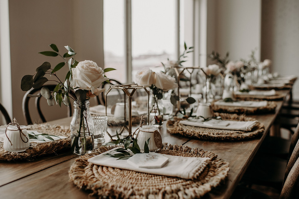 Bohemian bridal shower tabletop decor: Earthy & Modern Bridal Shower Inspiration by Pretty Little Vintage Co. featured on The Lincoln Loft & Studio blog