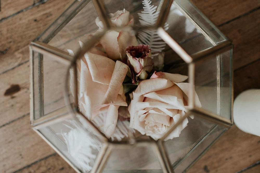 Glass geometric vase wedding decor
