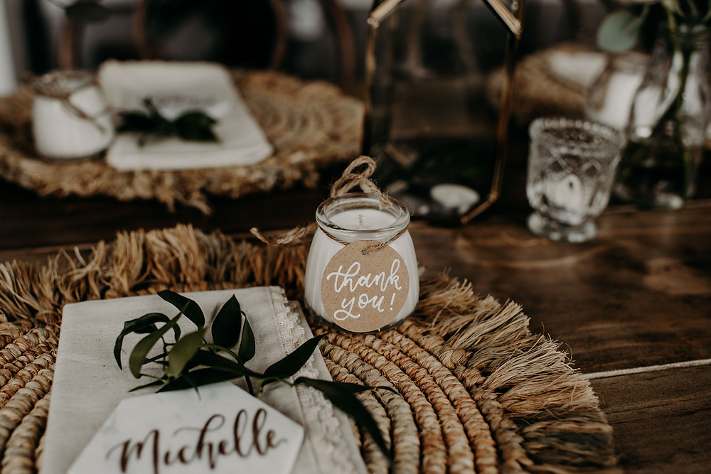 Candle bridal shower favor: Earthy & Modern Bridal Shower Inspiration by Pretty Little Vintage Co. featured on The Lincoln Loft & Studio blog
