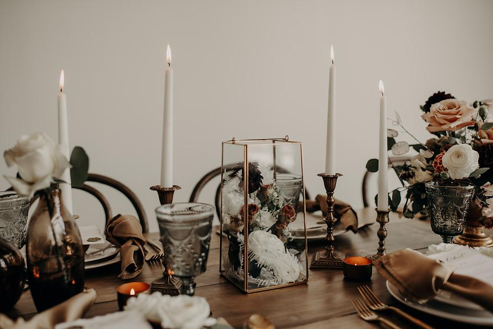 Geometric wedding table centerpieces