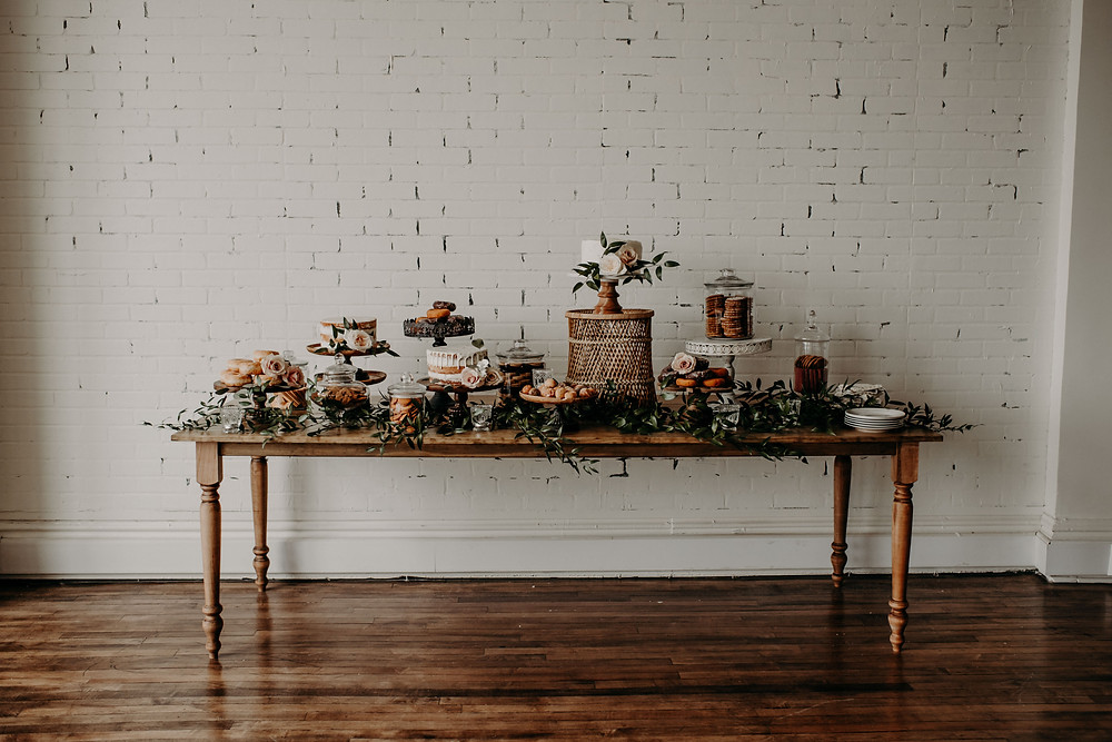 Farm table dessert table display: Earthy & Modern Bridal Shower Inspiration by Pretty Little Vintage Co. featured on The Lincoln Loft & Studio blog