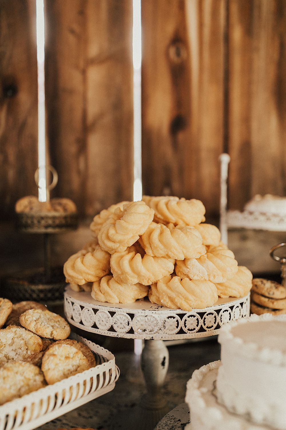 Wedding Cookie Vintage Cake Stand: Charming Bohemian Gilbertsville Farmhouse Wedding captured by Rachel Liz Photography featured on Pretty Little Vintage Co