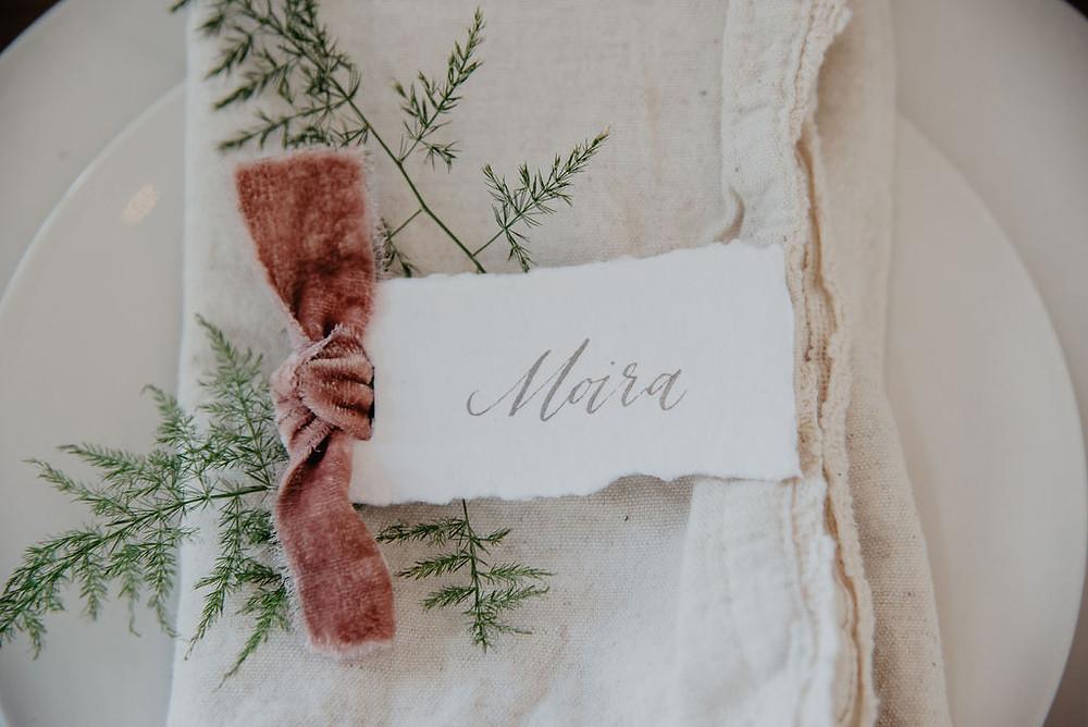 Organic wedding escort card designs