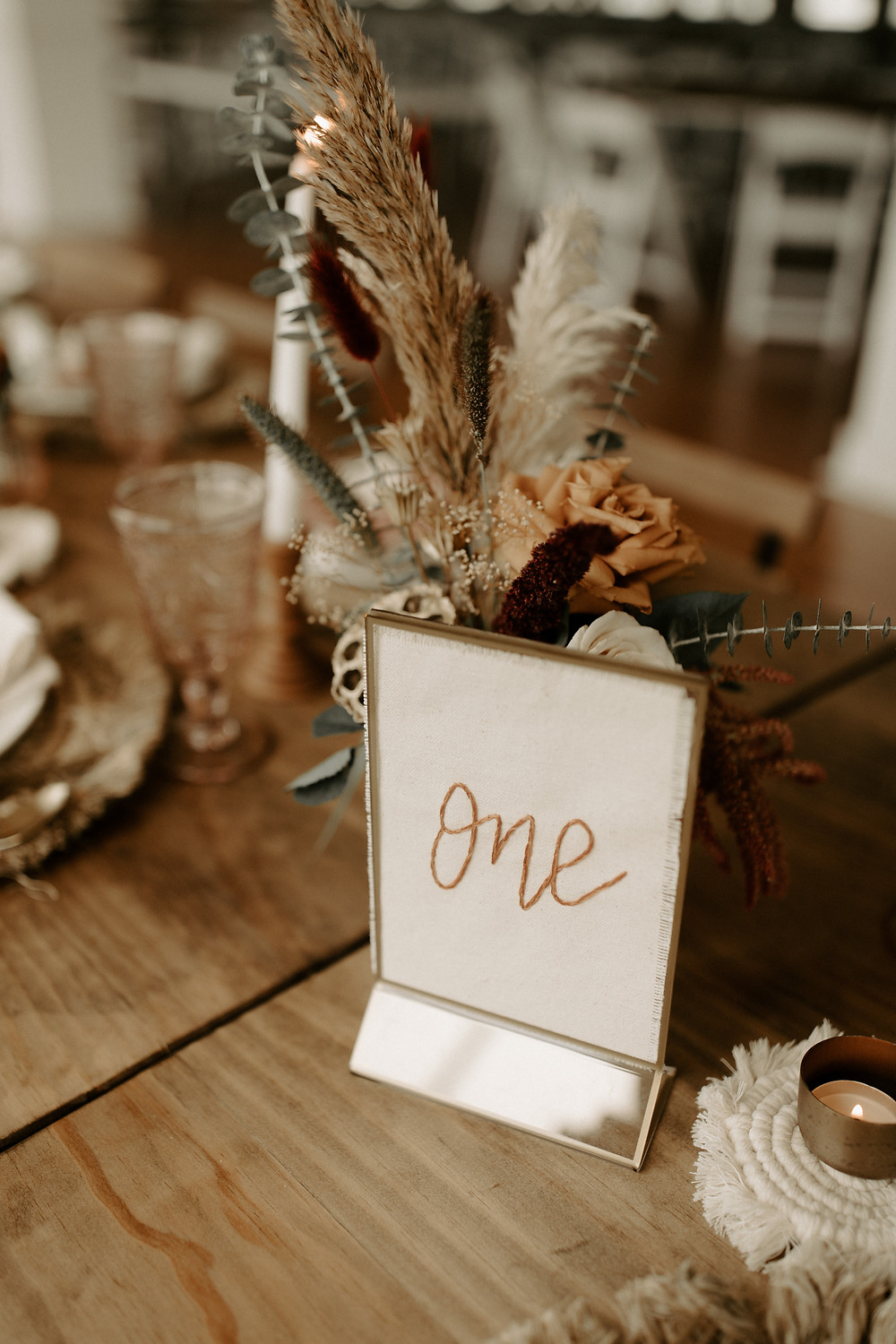 Embroidered wedding table number design