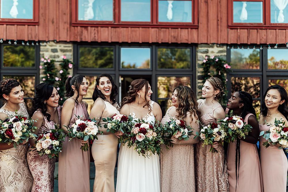 Mismatched pink bridesmaids dresses: Vintage Glam Barn Wedding at The Treman Center