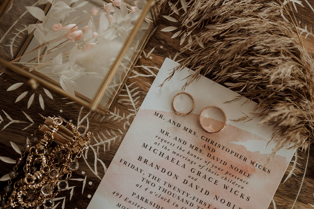 Pink and white wedding invitations: Modern Boho Wedding at The Lincoln Loft