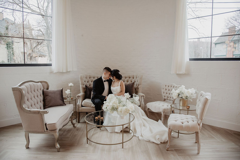Monochromatic Wedding Inspiration at The Highline Rochester | Pretty Little Vintage