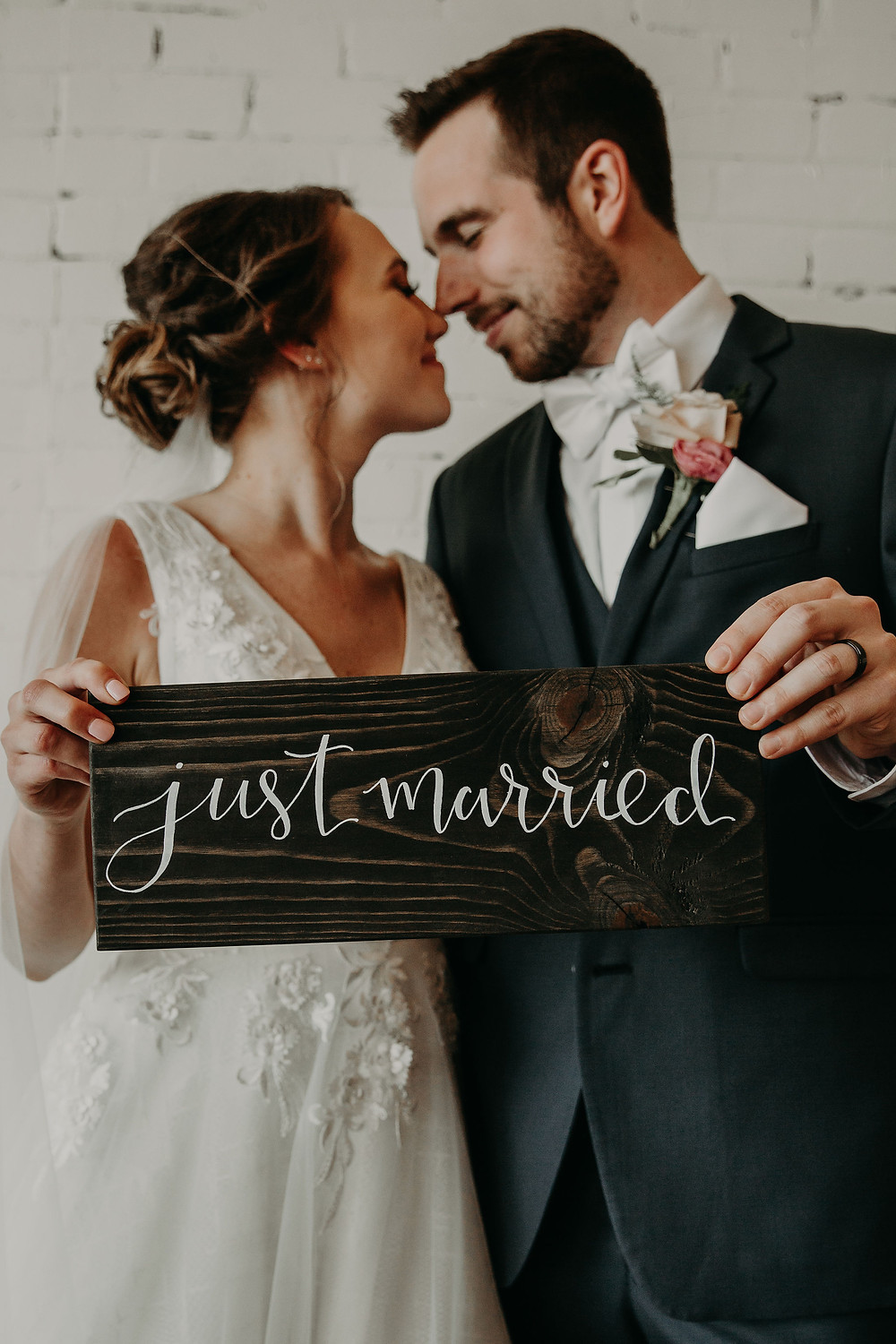 Just married wedding sign: Summer Small Wedding at The Lincoln Loft by Pretty Little Vintage Co.
