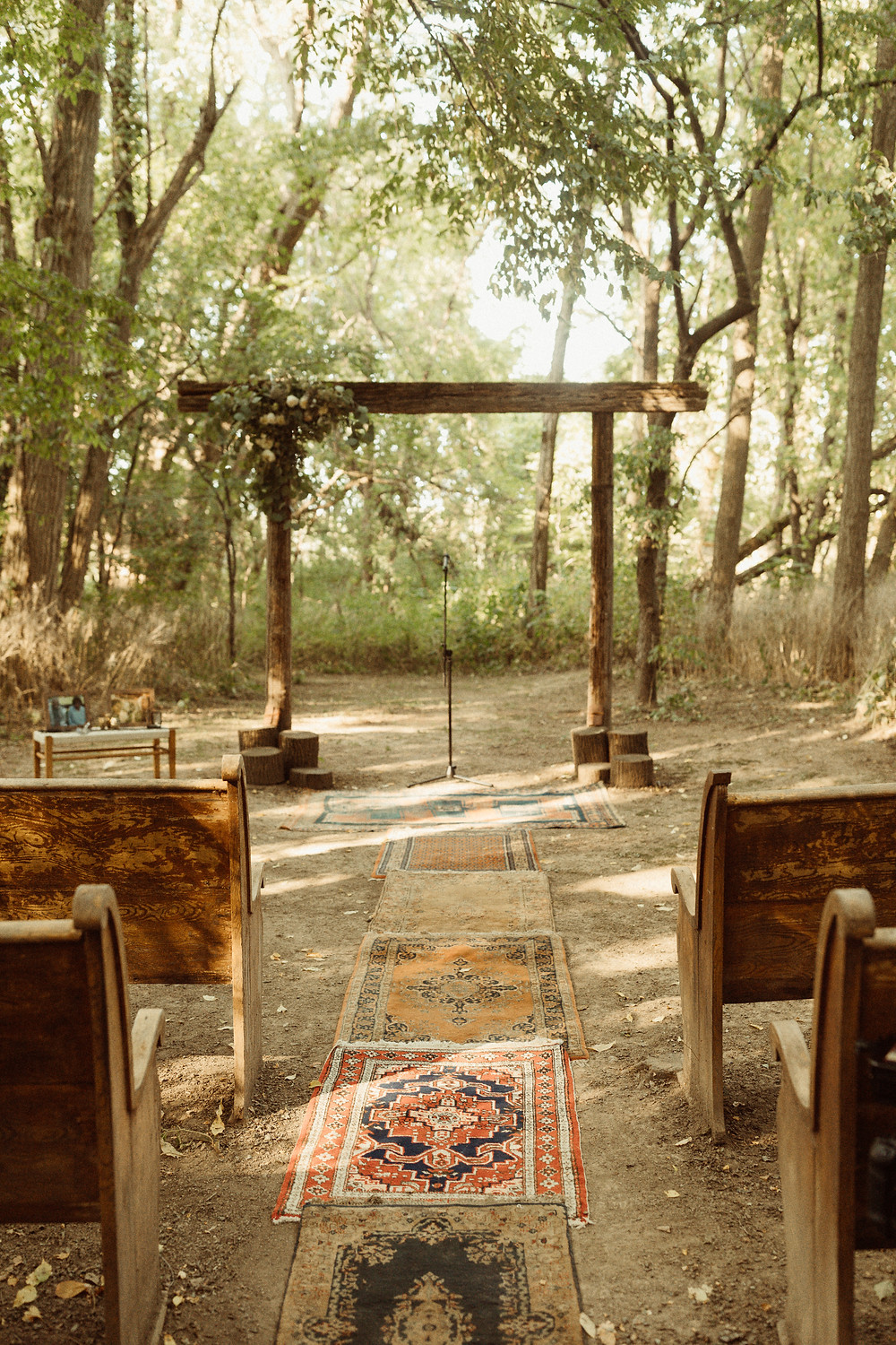 Wood Arbor for Outdoor Wedding Ceremony at The Kester Homestead