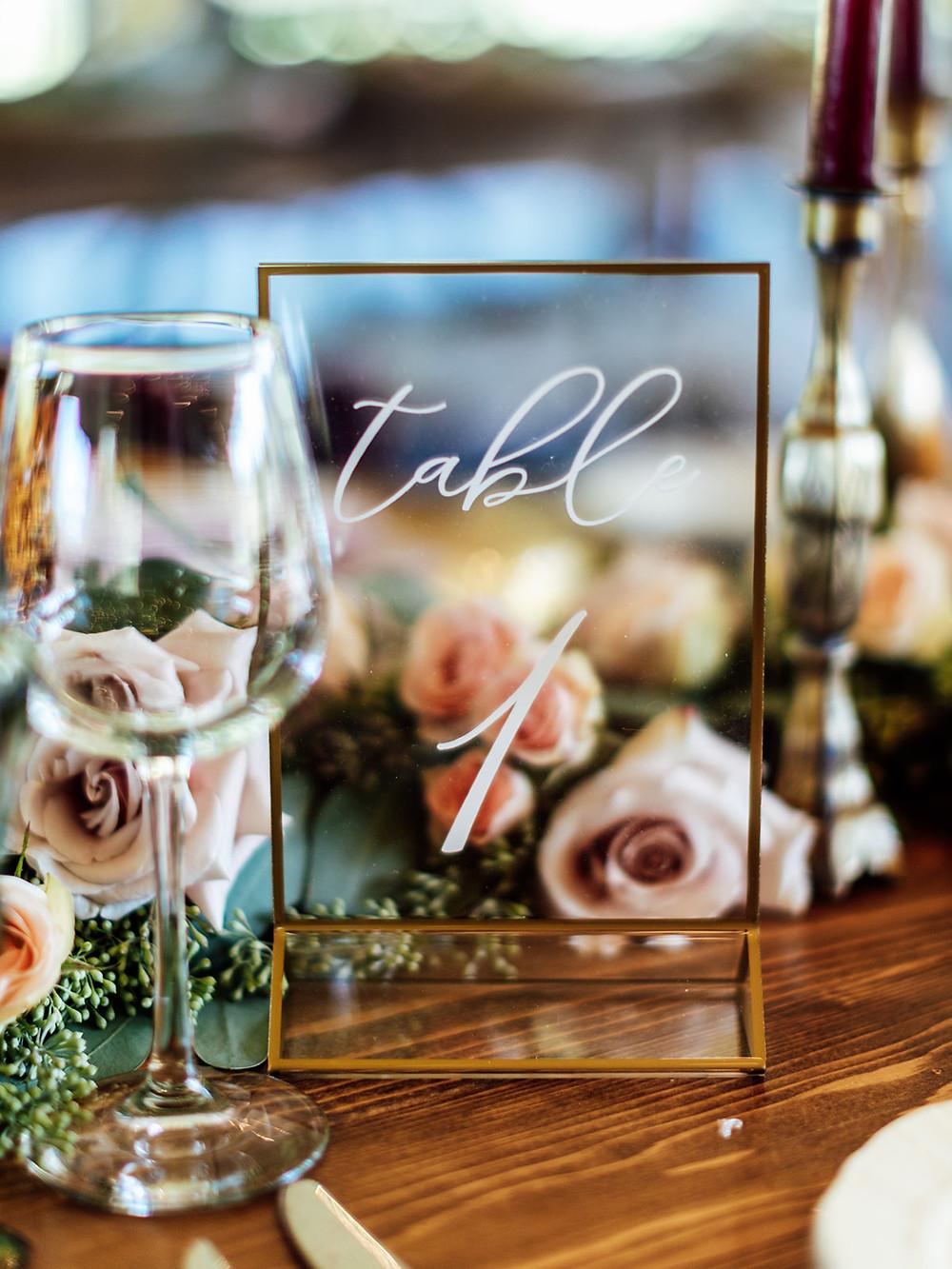 Gold wedding table number: Vintage Glam Barn Wedding at The Treman Center