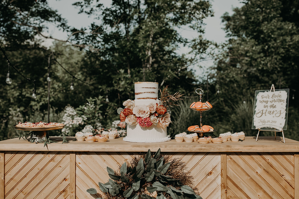 Wedding Dessert Display: Boho TerraCotta Wedding Styled Shoot at Red Barn 20