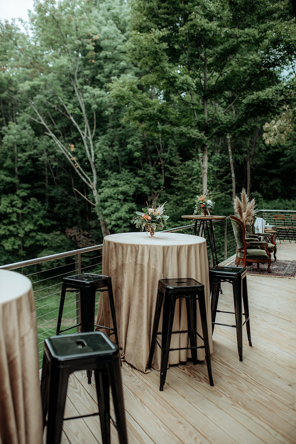 Cocktail Hour Tables: Warm Toned Backyard Wedding on Skaneateles Lake in Spafford, NY featured on Pretty Little Vintage Co.